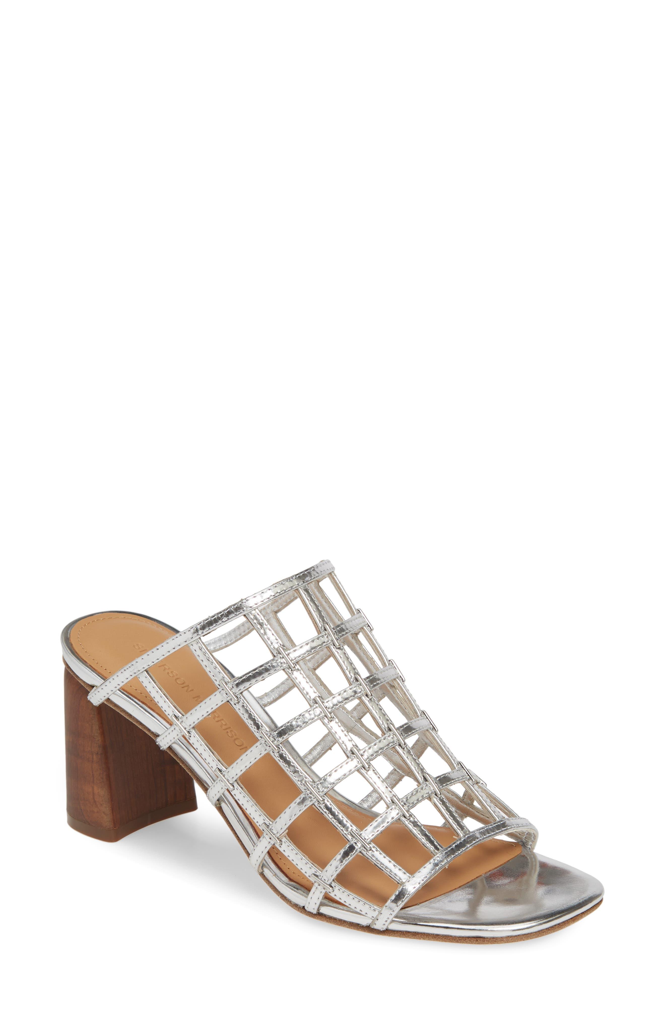 Sigerson Morrison Diana Cage Slide Sandal, Metallic