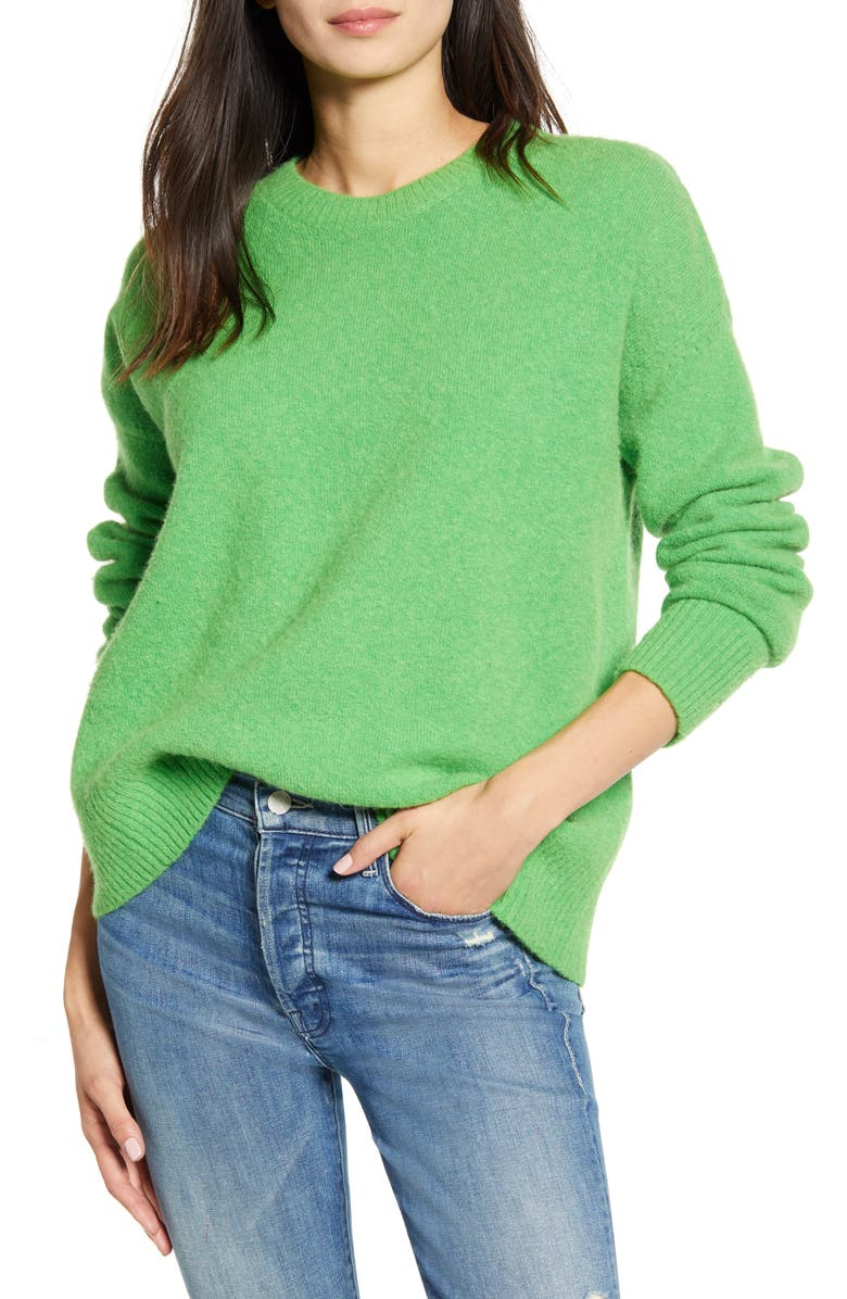 SCOTCH & SODA Crewneck Sweater, Main, color, TOXIC GREEN