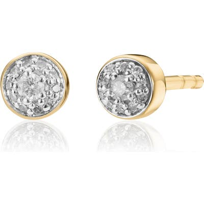 Monica Vinader Fiji Tiny Button Diamond Stud Earrings