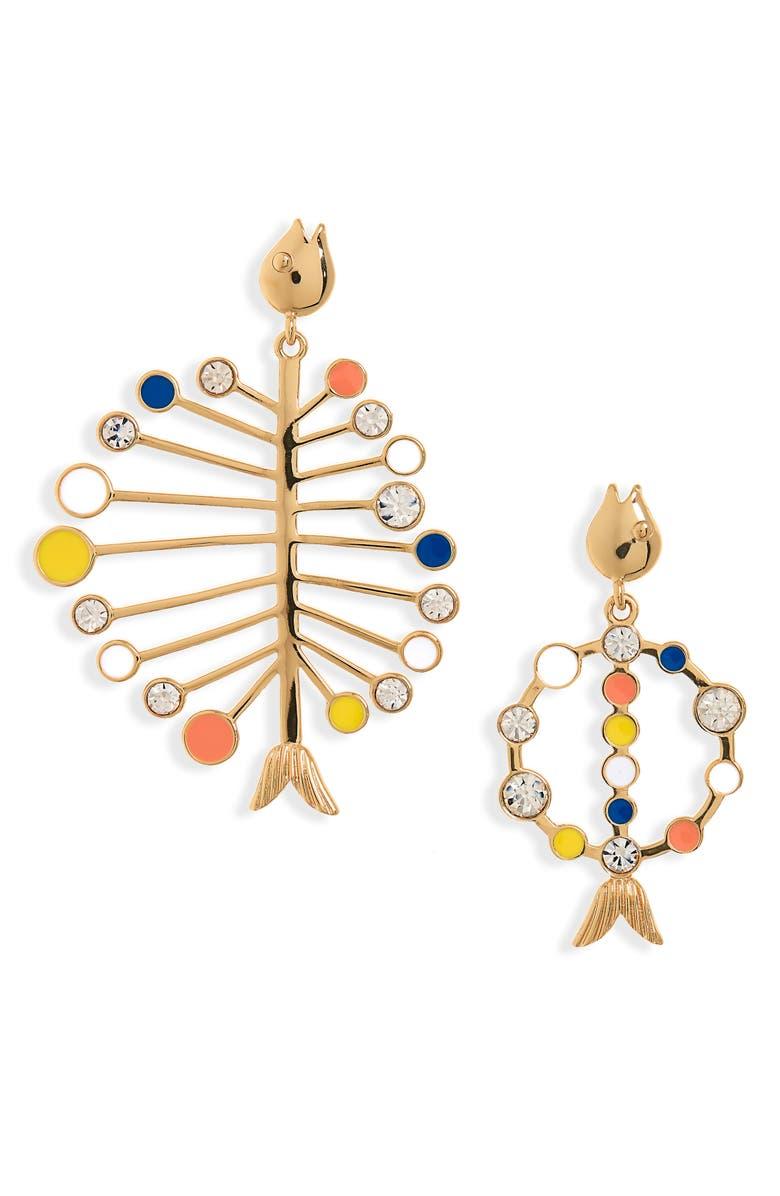 J.CREW Mismatched Enamel Fish Earrings, Main, color, 650
