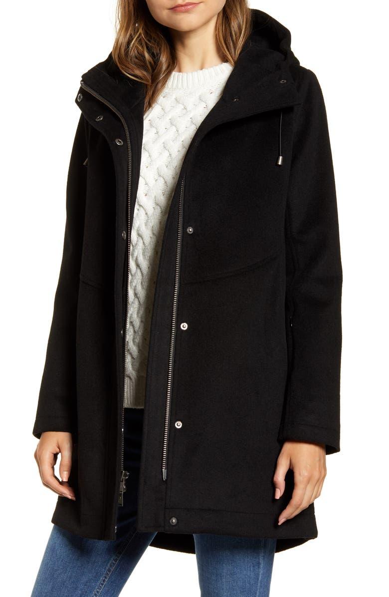 PENDLETON Darby Metro Waterproof Hooded Coat, Main, color, BLACK