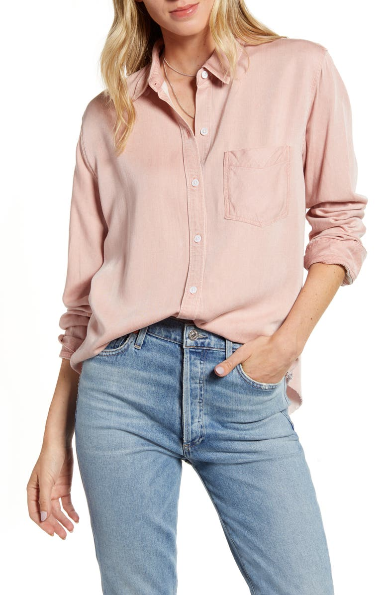 RAILS Ingrid Raw Hem Button-Up Shirt, Main, color, WILD ROSE