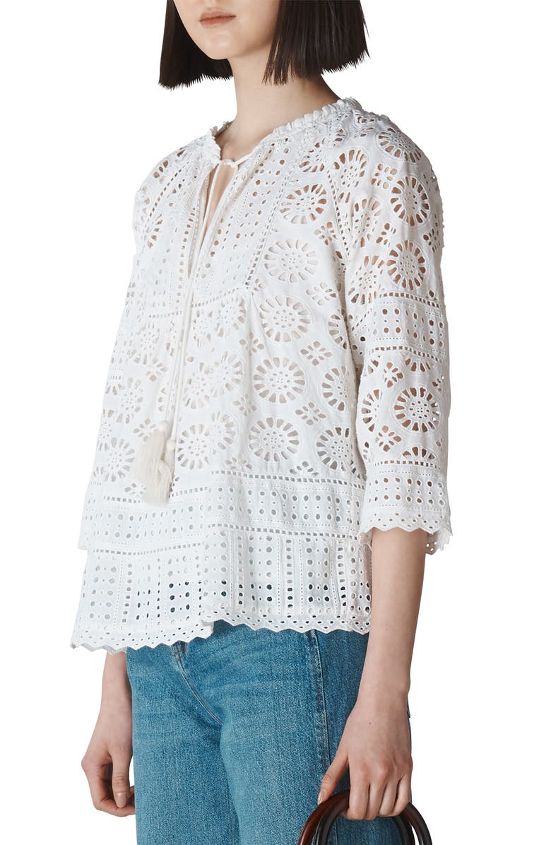 WHISTLES Maggie Broderie Cotton Blouse, Main, color, WHITE