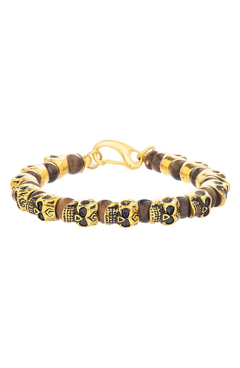 STEVE MADDEN Skull Bead Bracelet, Main, color, 710