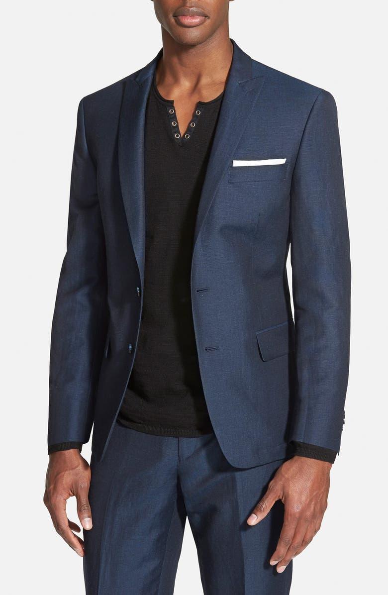 JOHN VARVATOS STAR USA Linen Blend Peak Lapel Sport Coat, Main, color, 462