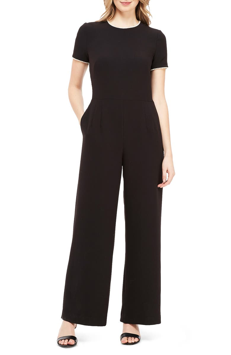 GAL MEETS GLAM COLLECTION Pearl Trim Jumpsuit, Main, color, 001