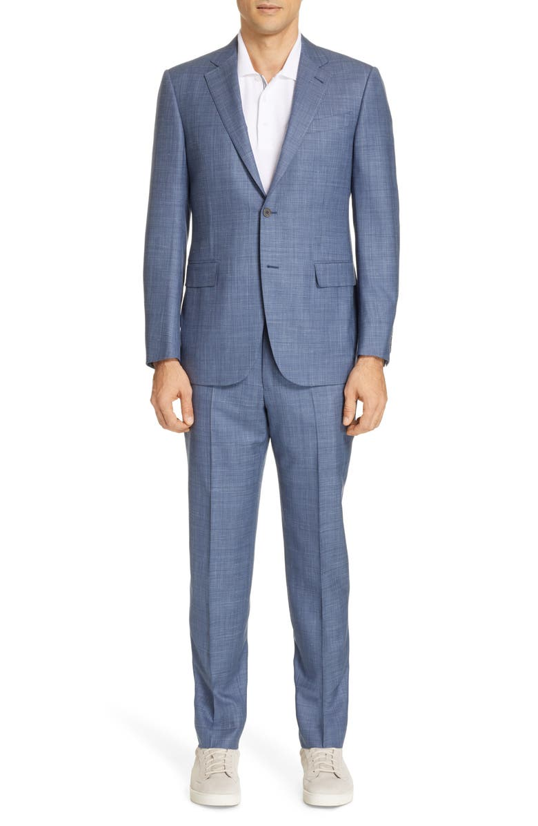 ERMENEGILDO ZEGNA Trofeo Classic Fit Solid Wool Blend Suit, Main, color, BLUE