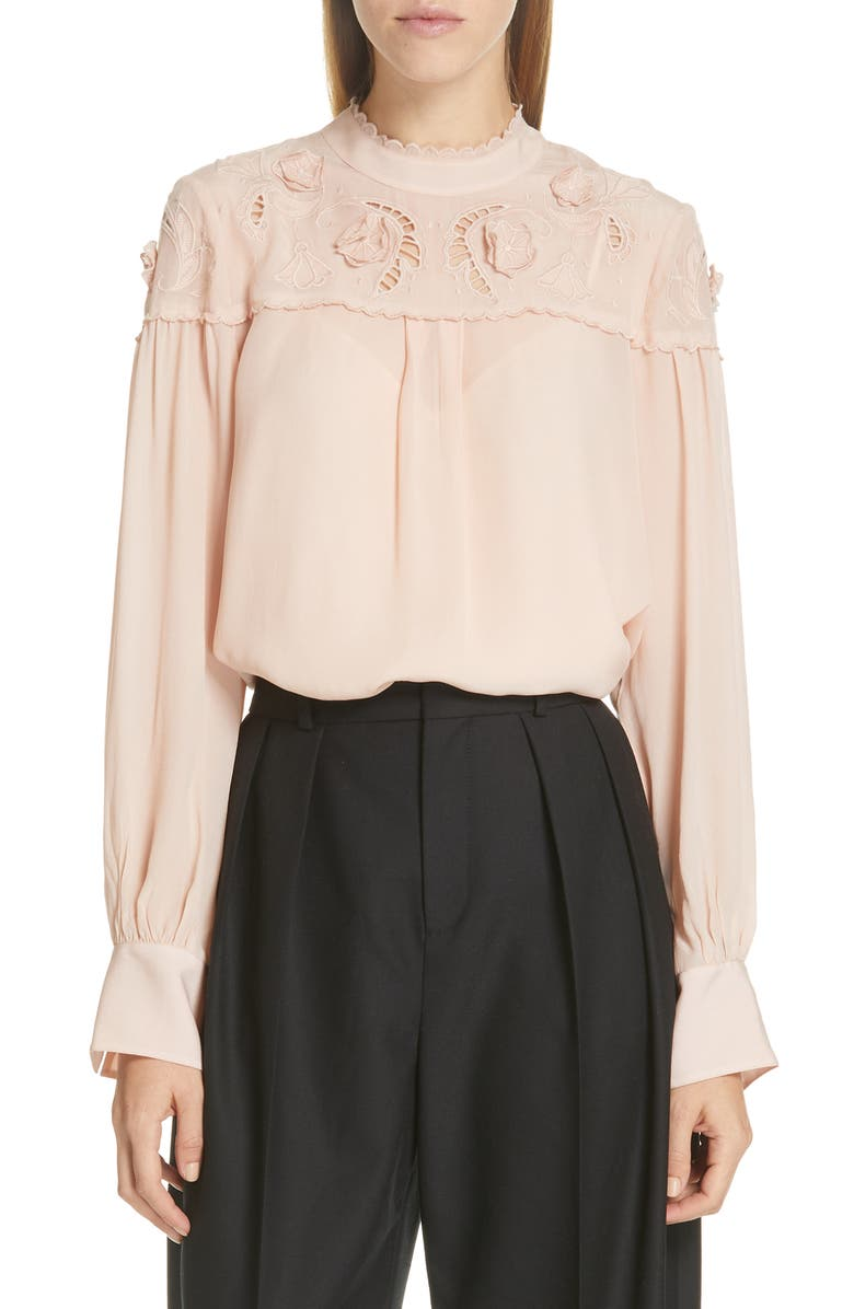 SEE BY CHLOÉ Ruffle Lace Blouse, Main, color, LIGHT/ PASTEL PINK