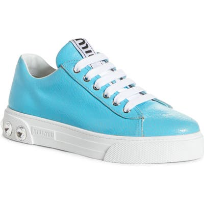 Miu Miu Crystal Detail Skate Sneaker - Blue
