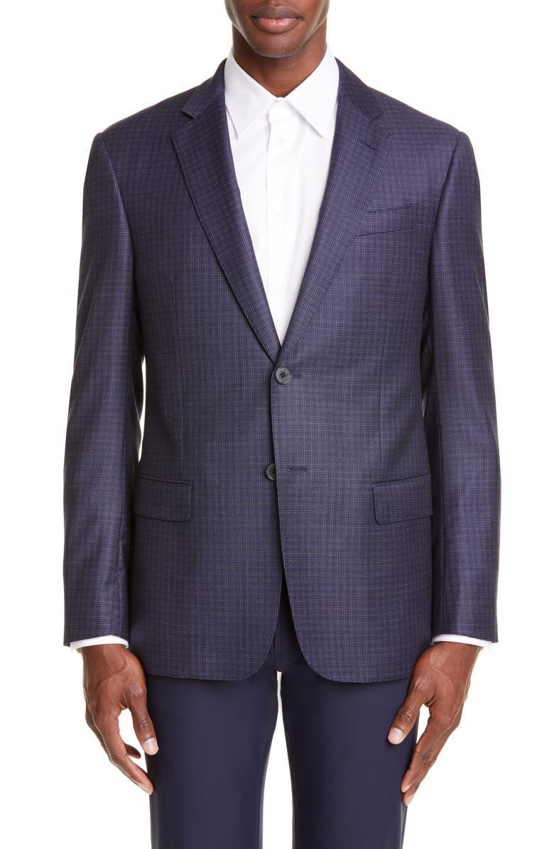 EMPORIO ARMANI Trim Fit Dot Wool Sport Coat, Main, color, BLUE