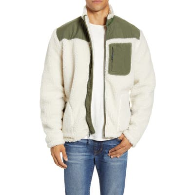 Faherty Faux Fur Front Zip Jacket, Ivory