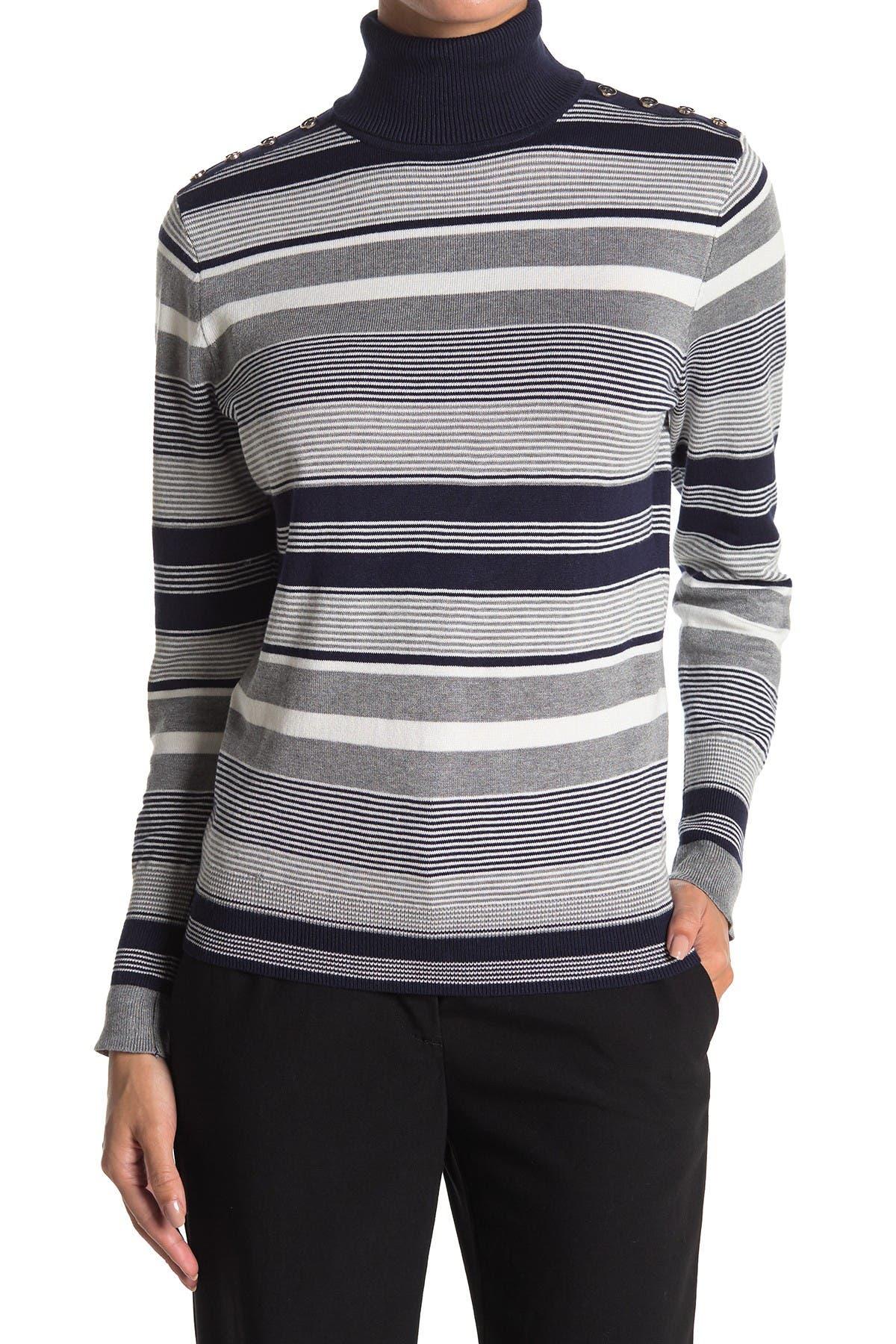 Image of JOSEPH A Striped Turtleneck Sweater