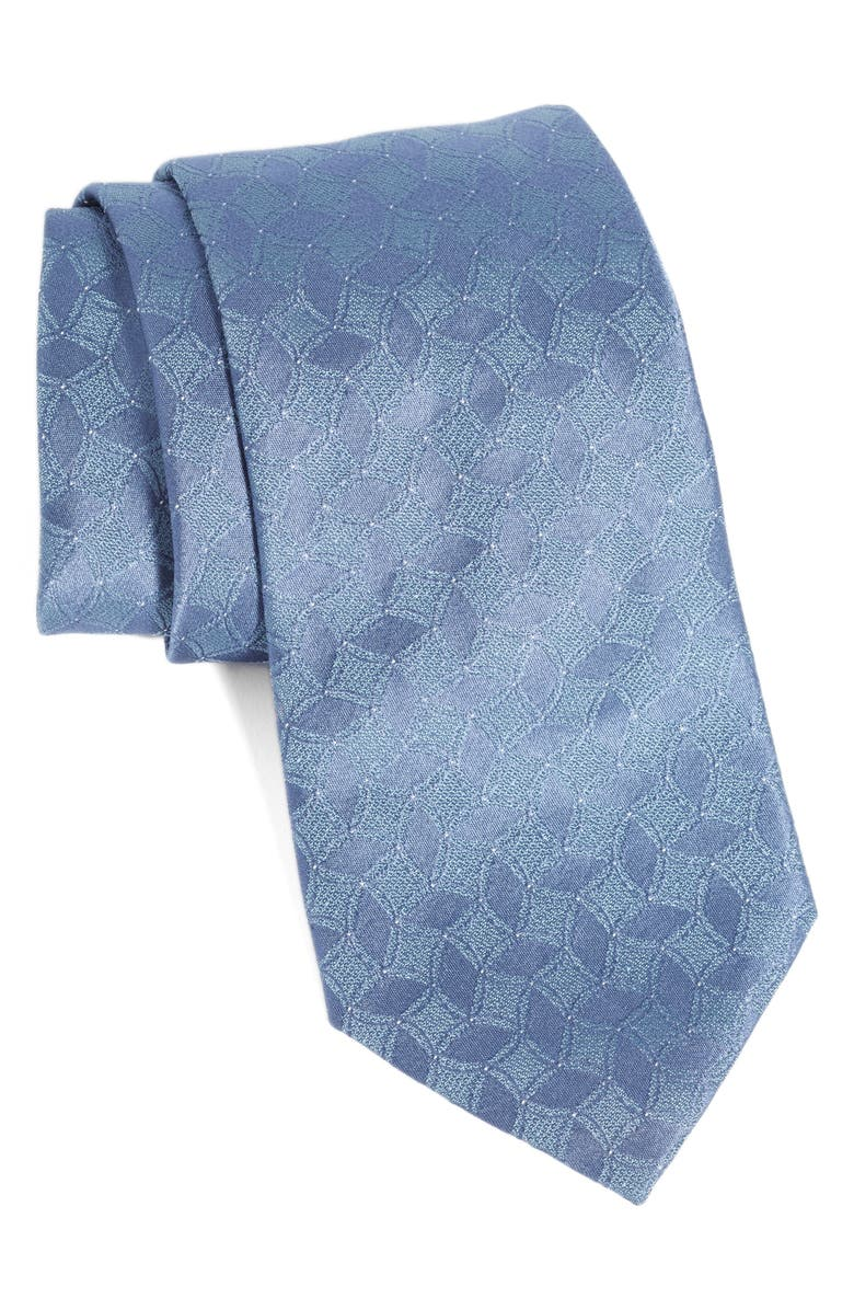 EMPORIO ARMANI Geometric Flower Petal Silk Tie, Main, color, BLUE