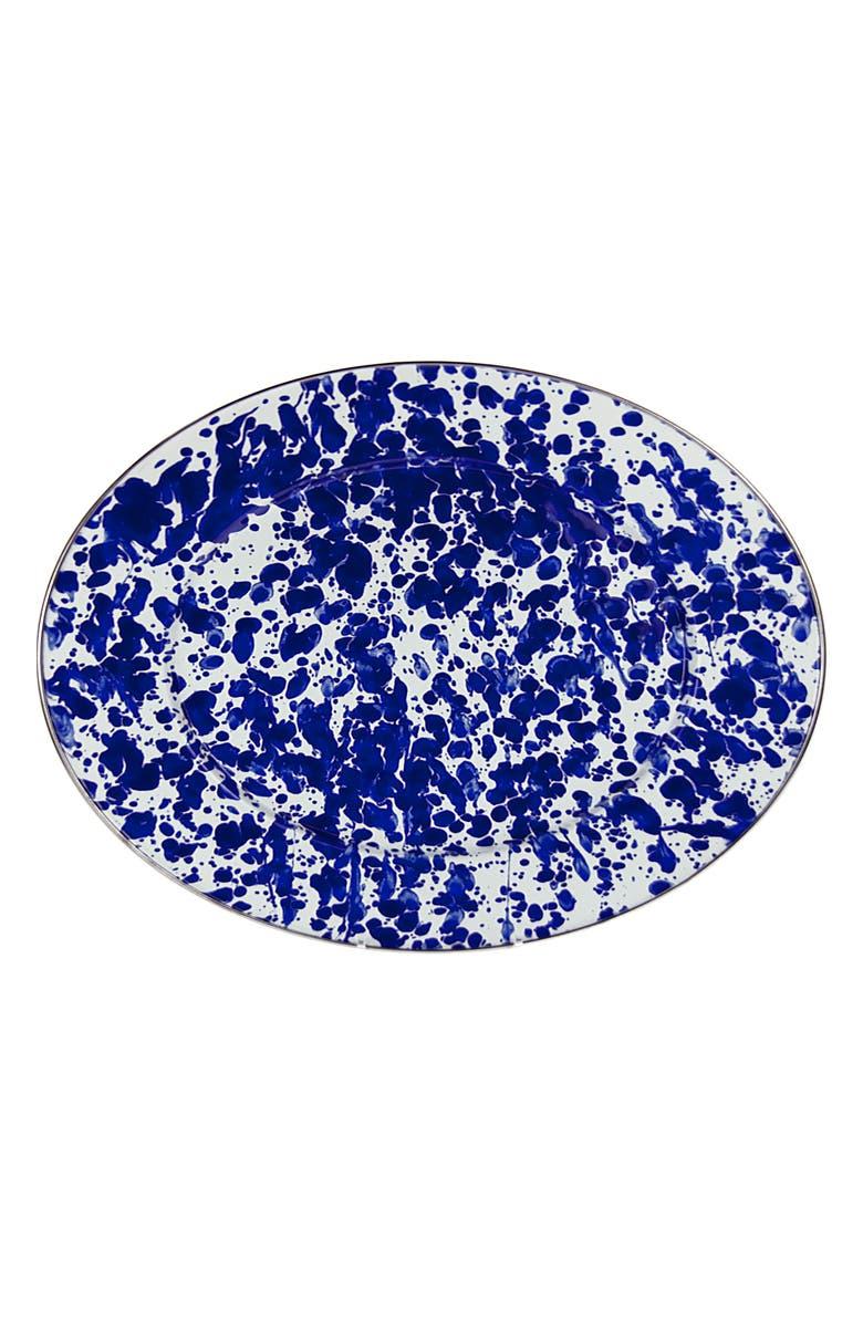 GOLDEN RABBIT Oval Serving Platter, Main, color, BLUE SWIRL