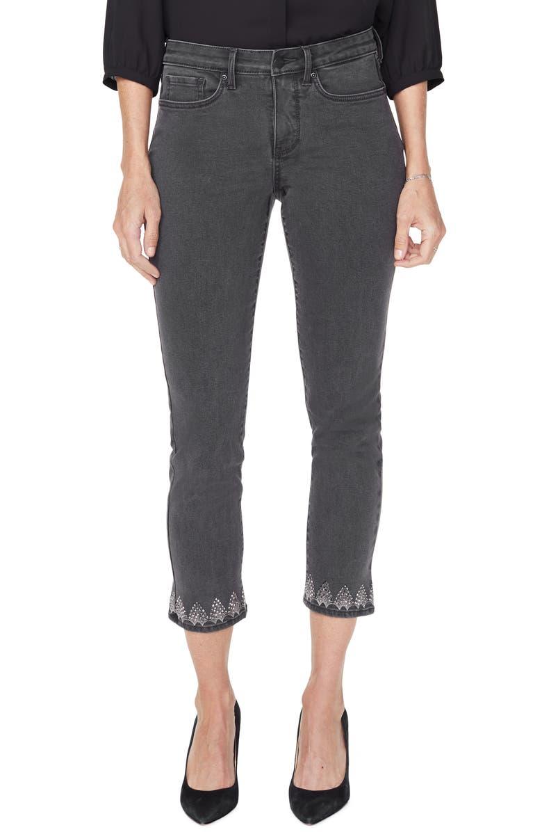NYDJ Sheri Embellished Hem Stretch Ankle Slim Jeans, Main, color, FOLSOM