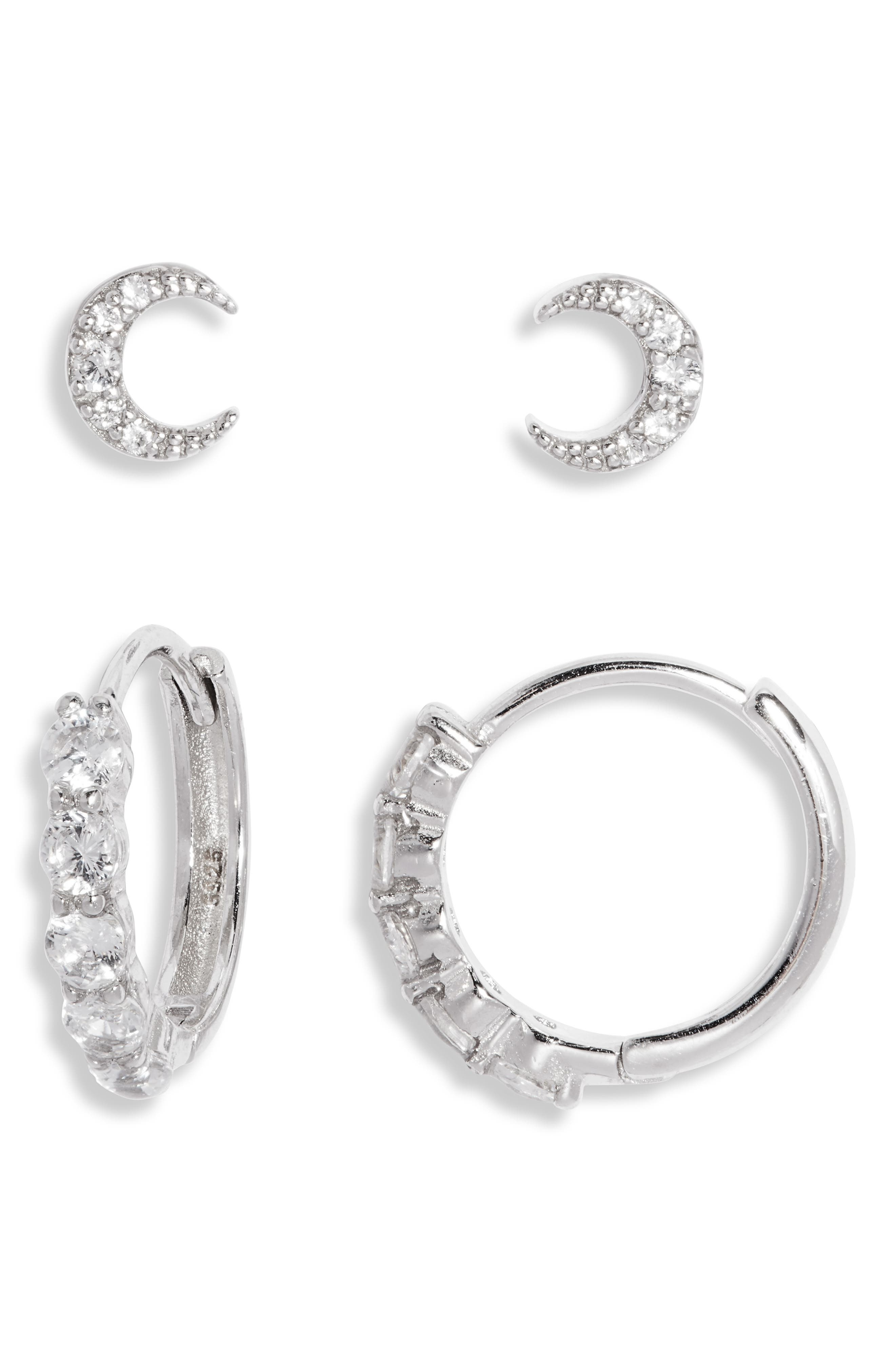 Tiny Moon Set Of 2 Earrings
