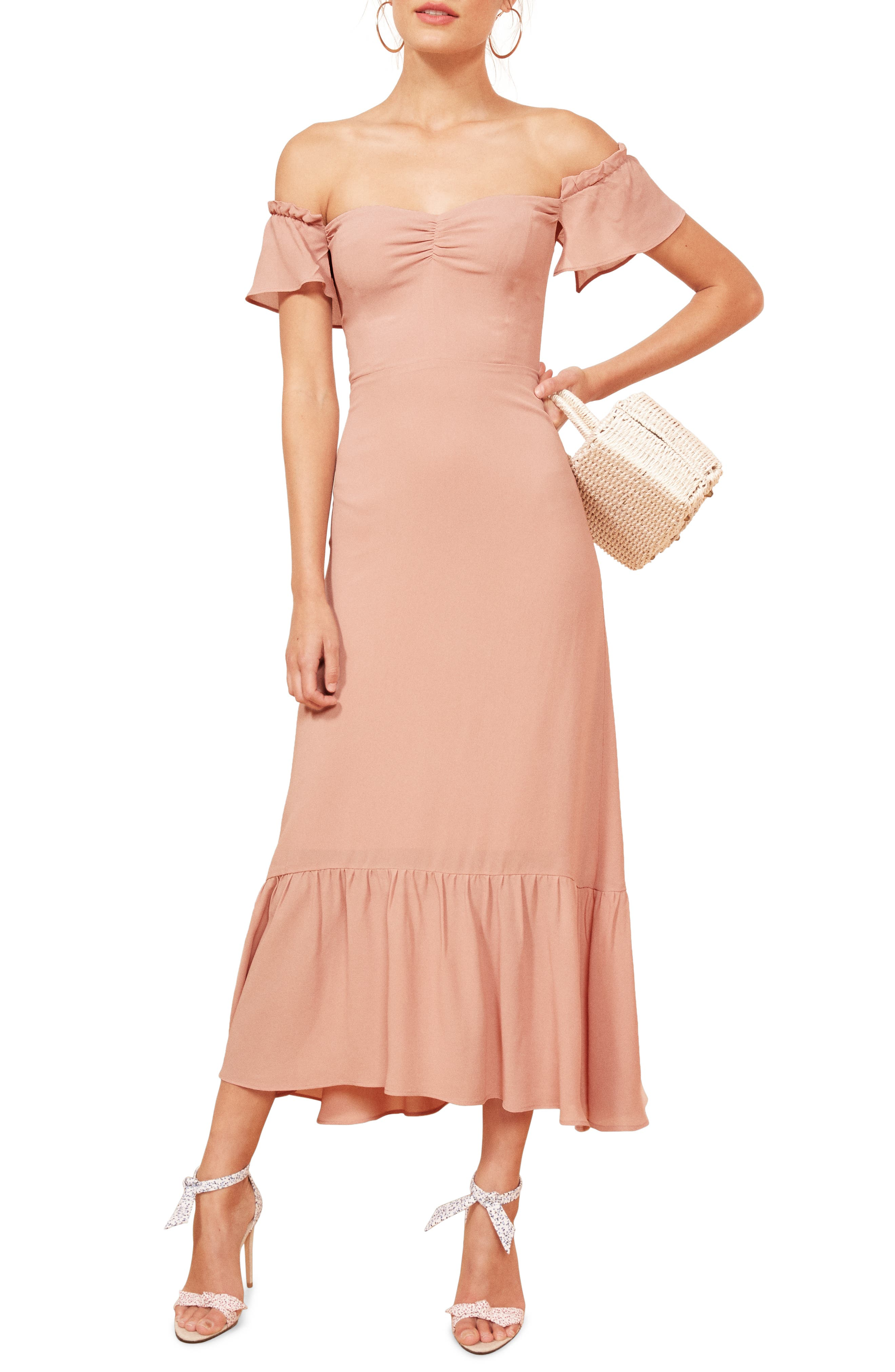 Reformation Butterfly Midi Dress, Pink