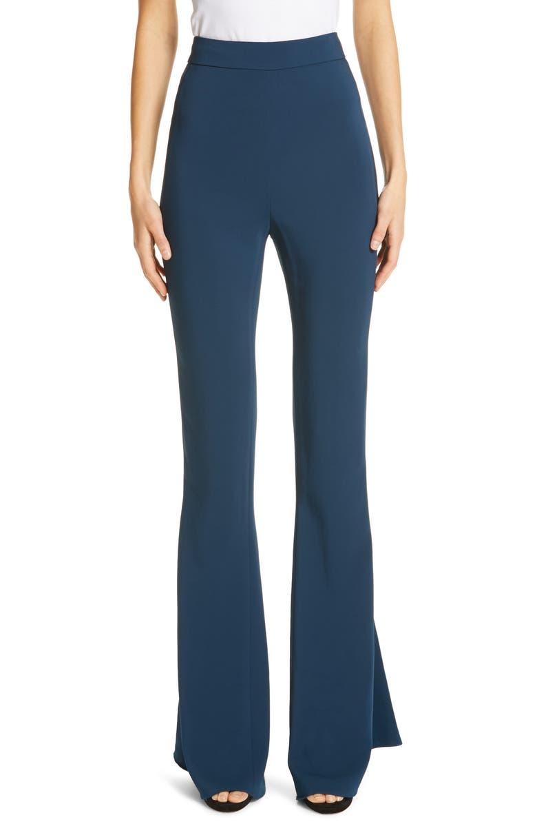 CUSHNIE High Waist Flare Silk Pants, Main, color, 420