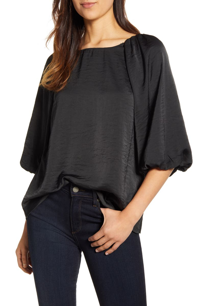 BOBEAU Larisa Hammered Satin Blouse, Main, color, 001