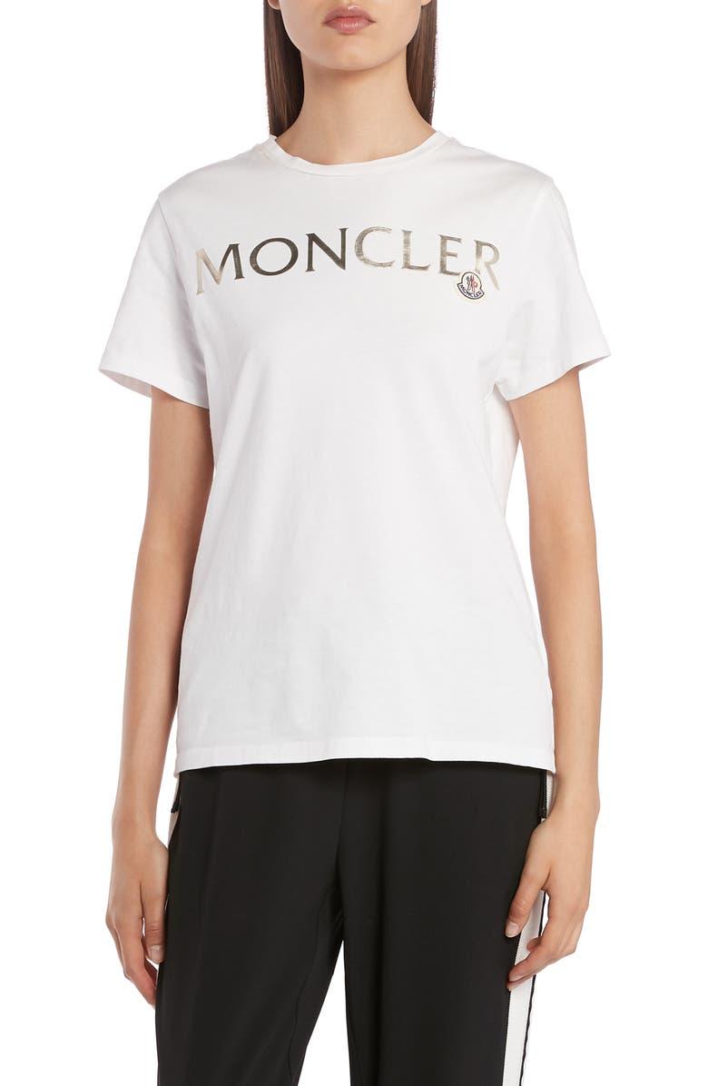 MONCLER Metallic Logo Tee, Main, color, WHITE