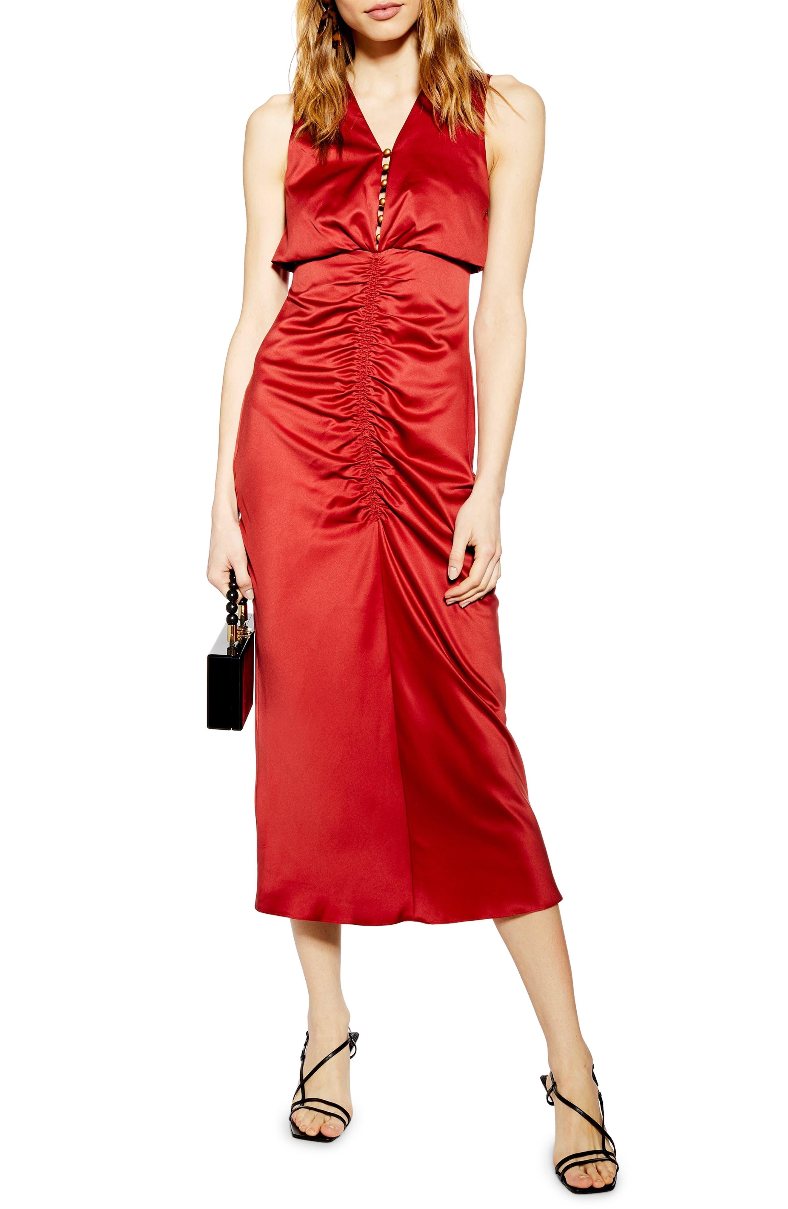 Ruched Button Satin Midi Dress, Main, color, DARK RED