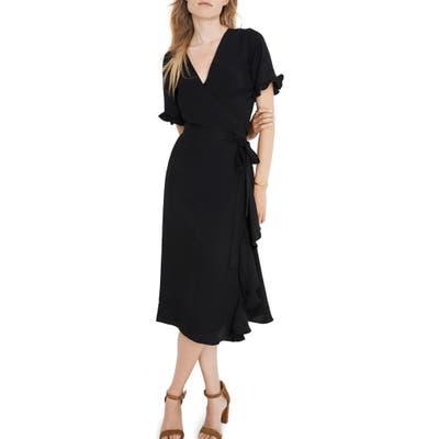 Madewell Satin Ruffle Sleeve Wrap Dress, Black
