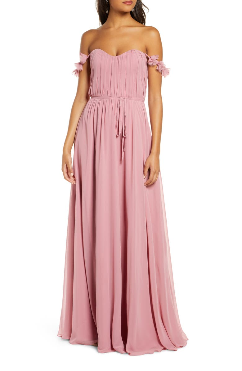 MARCHESA NOTTE Petal Strap Chiffon Bridesmaid Gown, Main, color, ROSE