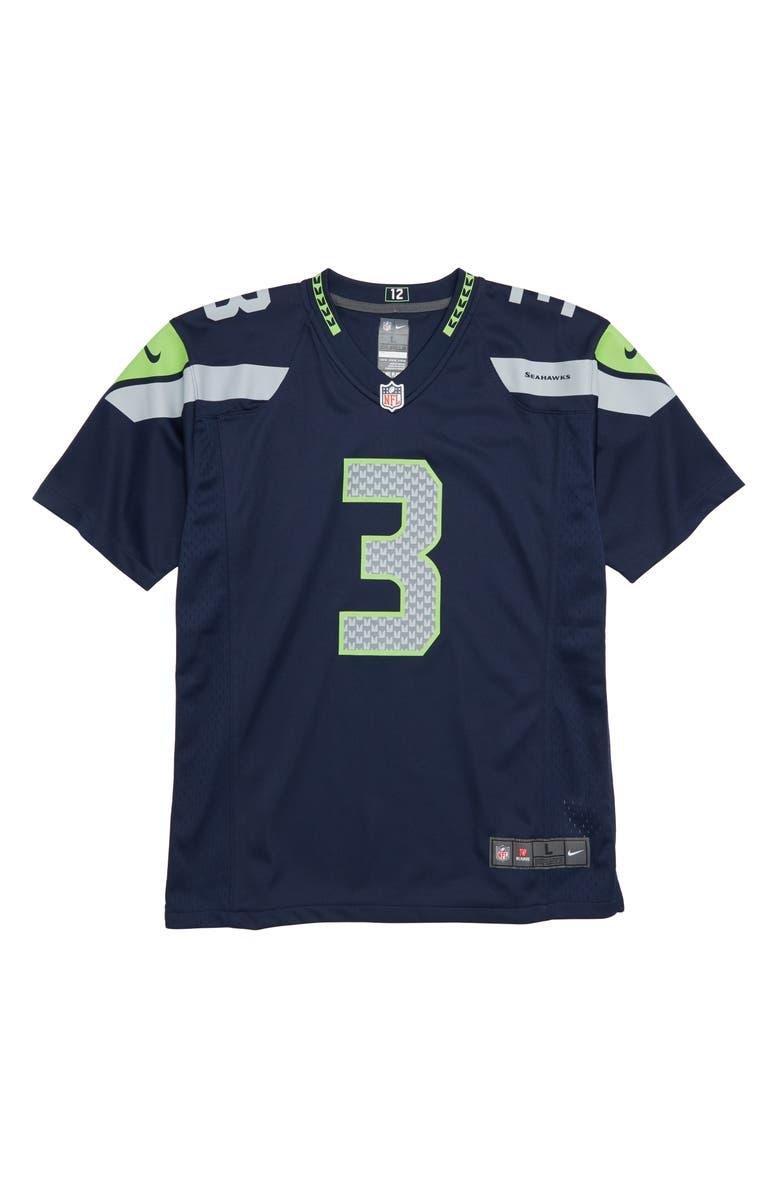 39cf7d9f5 Nike NFL Logo Seattle Seahawks Russell Wilson Jersey (Big Boys ...