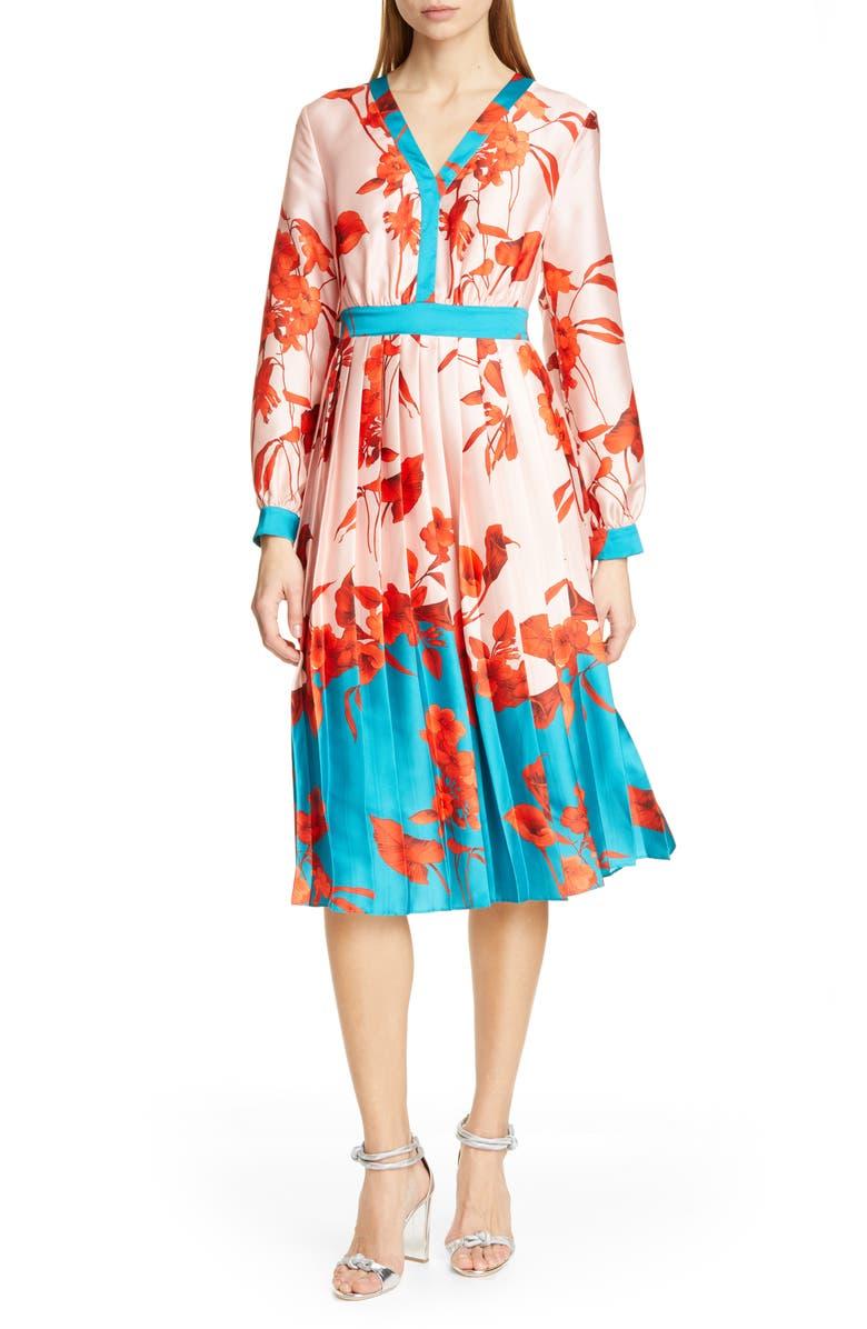 TED BAKER LONDON Karolyn Fantasia Midi Dress, Main, color, PALE PINK