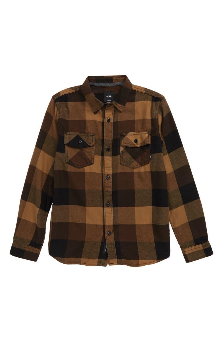 VANS Flannel Shirt, Main, color, BLACK/ DIRT