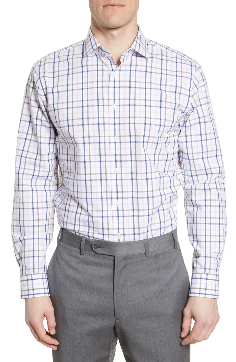 NORDSTROM MEN'S SHOP Tech-Smart Trim Fit Stretch Windowpane Dress Shirt, Main, color, WHITE BLUE TONAL WINDOWPANE
