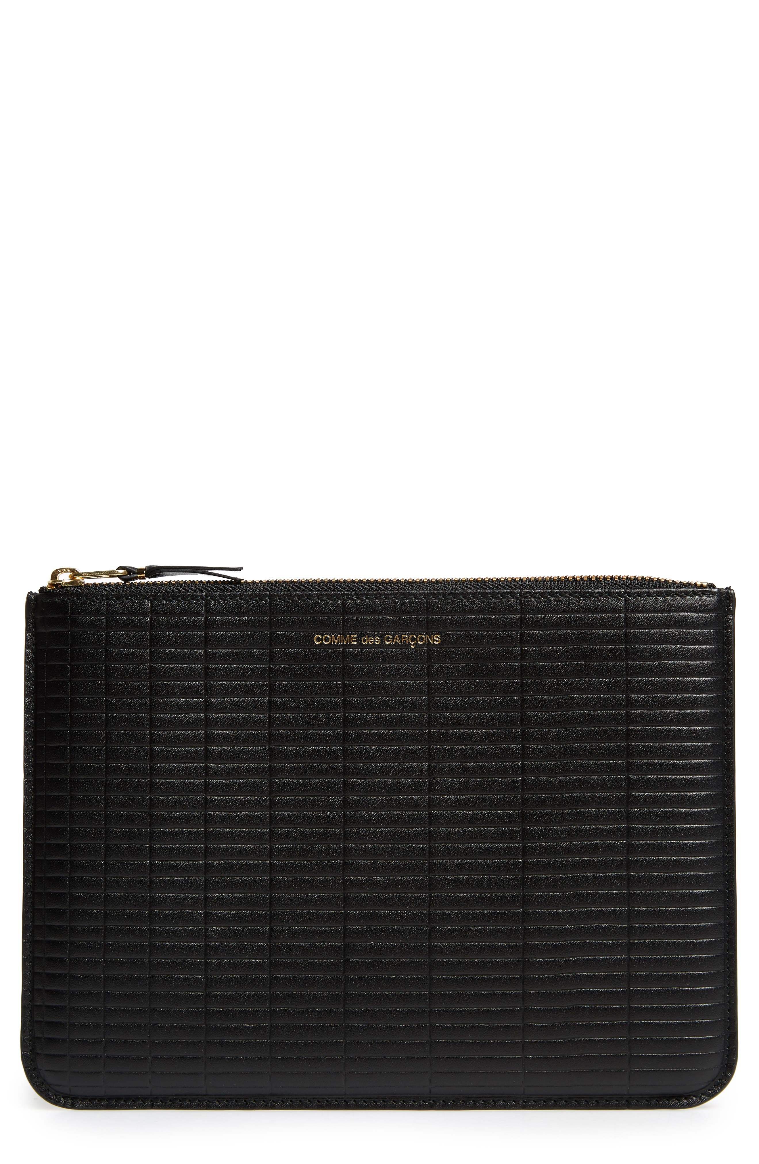 Brick Line Embossed Leather Pouch, Main, color, BLACK