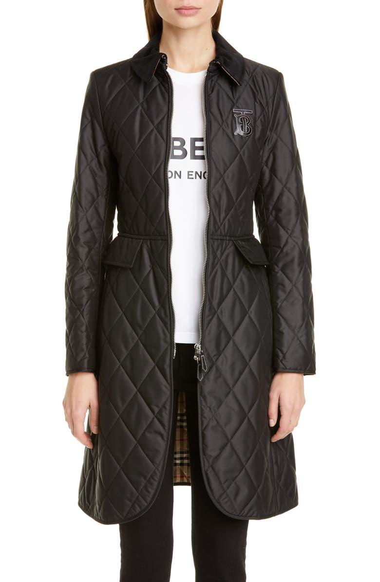 BURBERRY Ongar Monogram Motif Long Quilted Coat, Main, color, BLACK