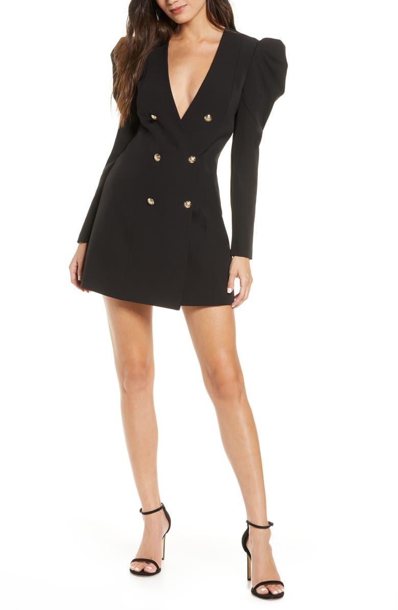 BARDOT Britt Long Sleeve Plunge Blazer Dress, Main, color, BLACK