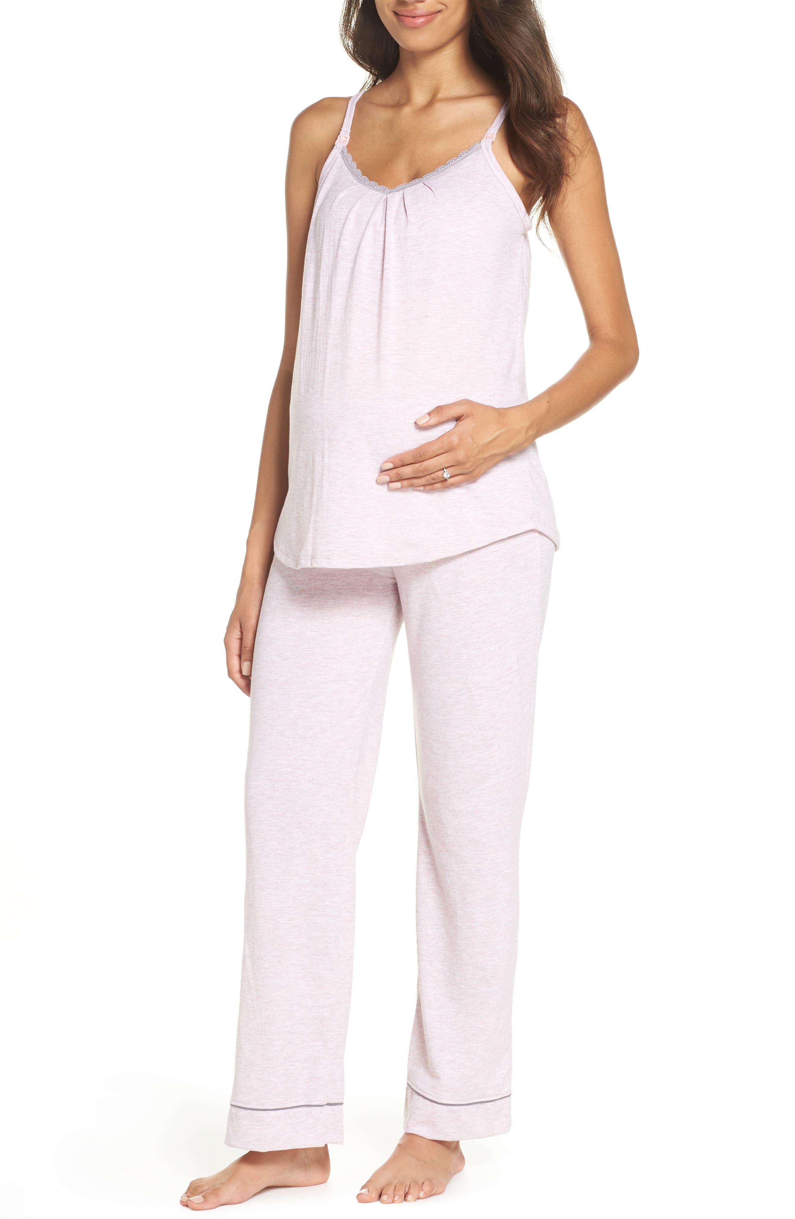 ,                             Maternity/Nursing Robe & Pajamas,                             Alternate thumbnail 2, color,                             PINK MARLE