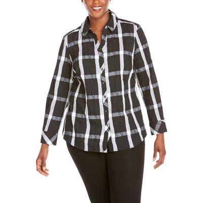 Plus Size Foxcroft Mary Windowpane Wrinkle Free Shirt, Black