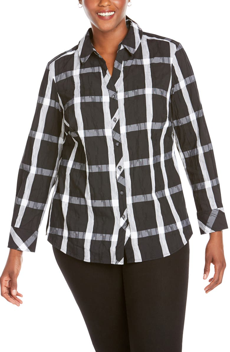 Foxcroft Mary Windowpane Wrinkle Free Shirt Plus Size