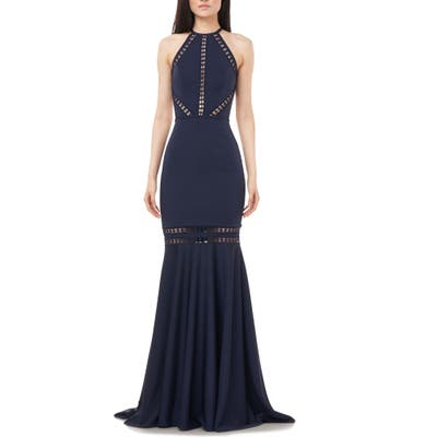 Love By Theia Halter Neck Open Back Mermaid Gown, Blue