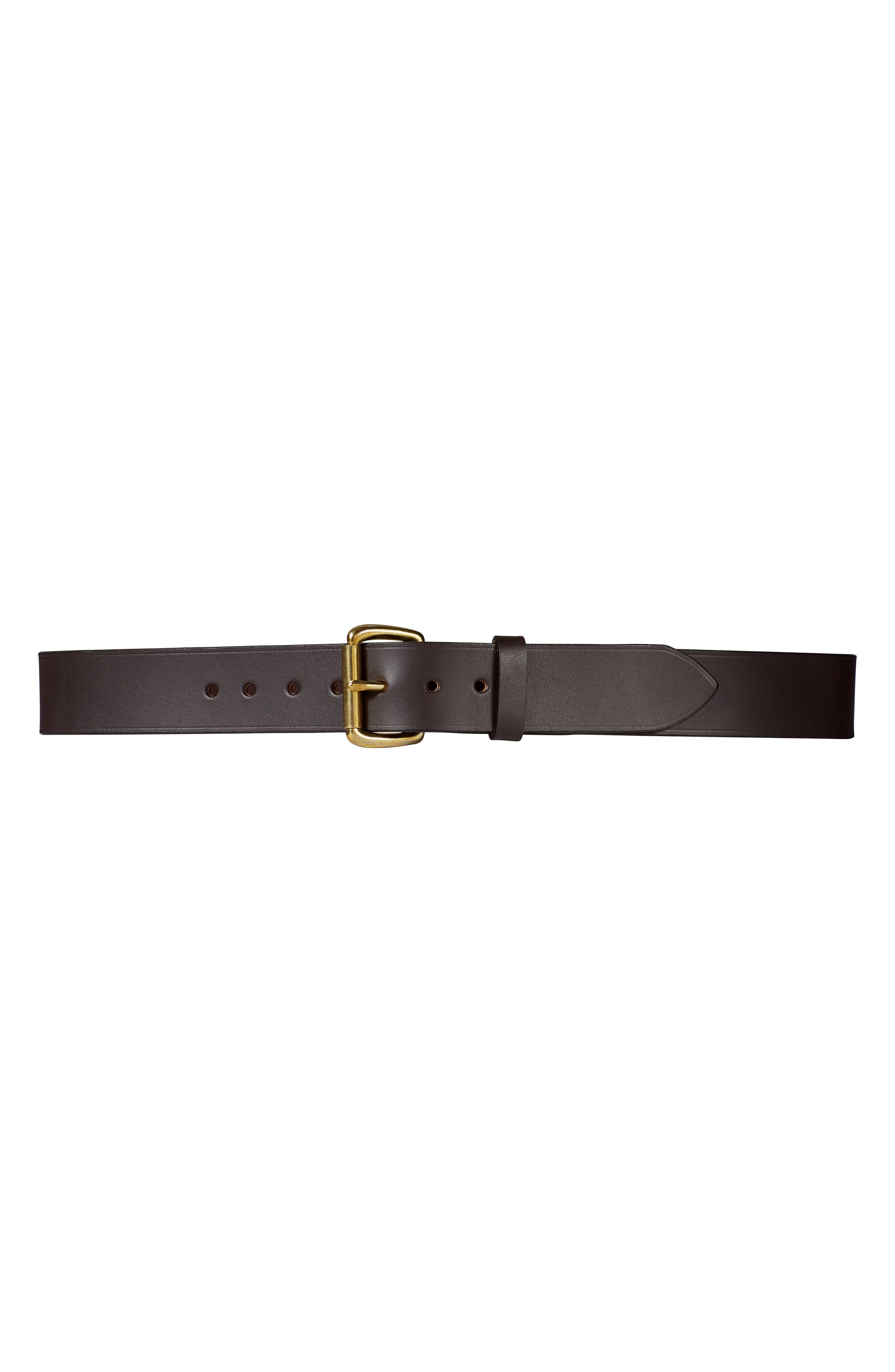 Filson Bridle Leather Belt, Brown/ Brass