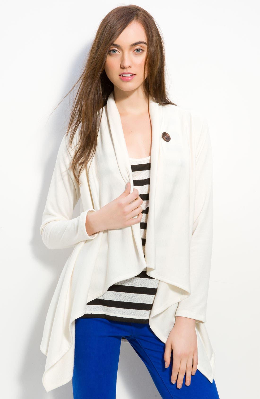 ,                             One-Button Fleece Wrap Cardigan,                             Main thumbnail 54, color,                             100