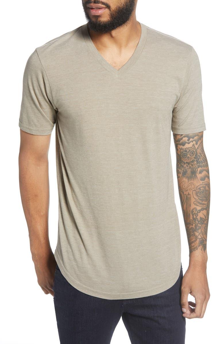 GOODLIFE Scallop Triblend V-Neck T-Shirt, Main, color, DUNE