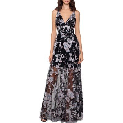 Xscape 3D Floral V-Neck Gown, Black