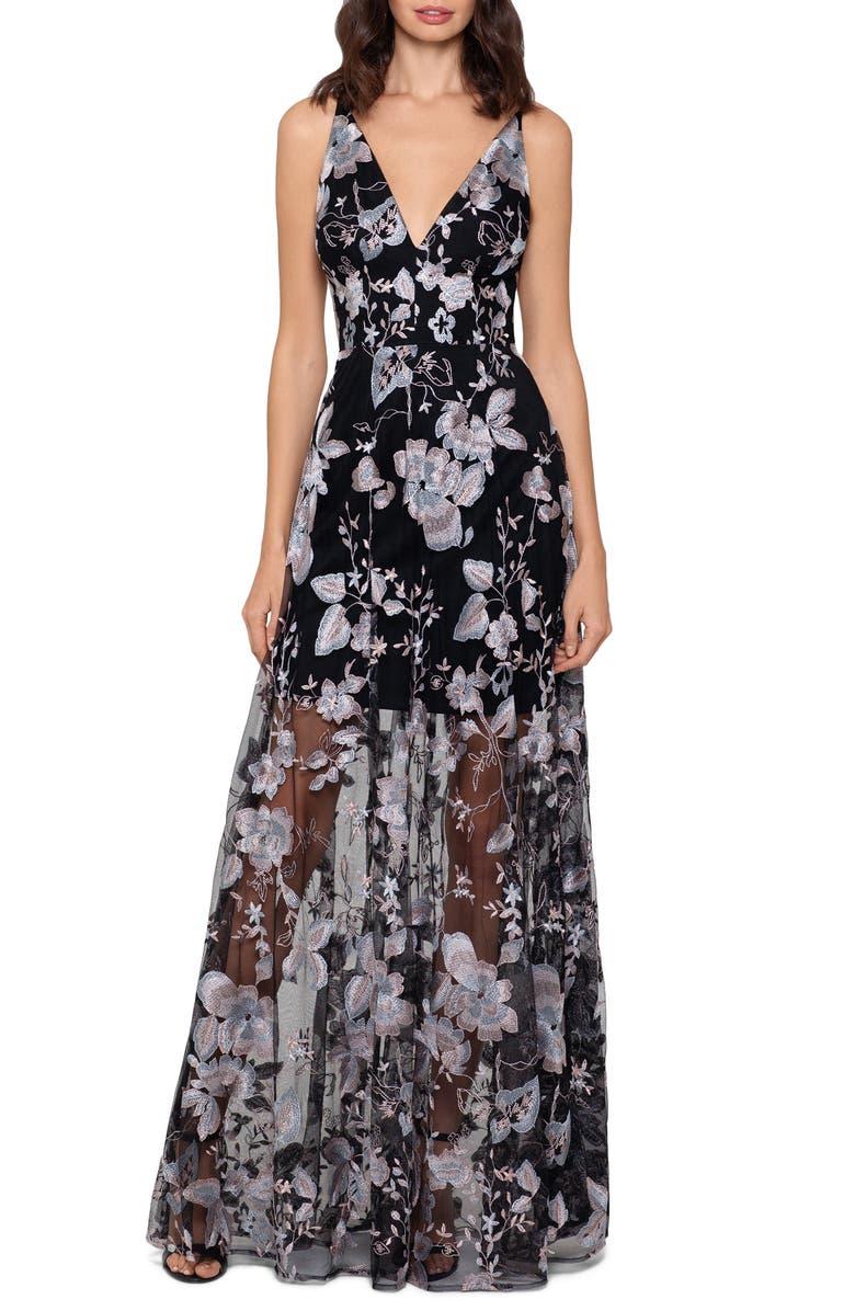 XSCAPE 3D Floral V-Neck Gown, Main, color, BLACK/ BLUSH
