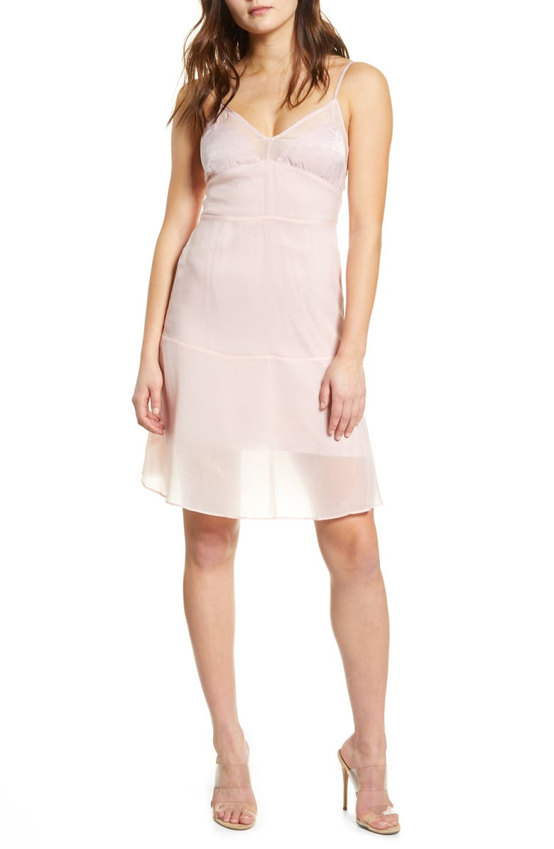ENDLESS ROSE Satin Contrast Slipdress, Main, color, MAUVE