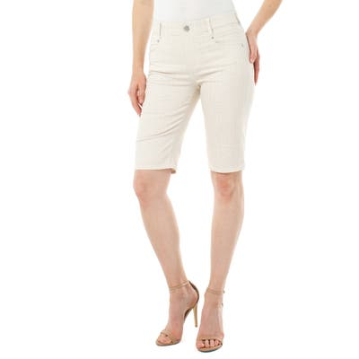 Liverpool Gia Glider High Waist Pull-On Cotton Blend Cruiser Shorts, Ivory