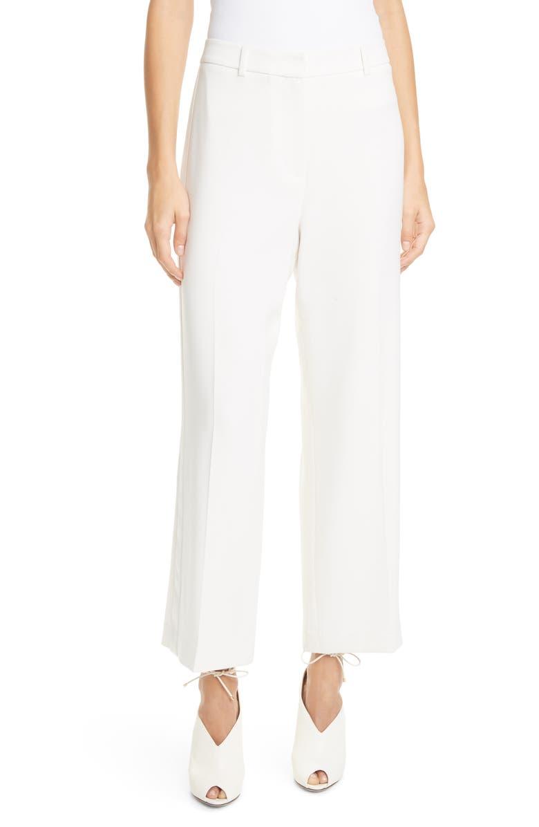 JUDITH & CHARLES Barletta Satin Side Stripe Trousers, Main, color, IVOIRE