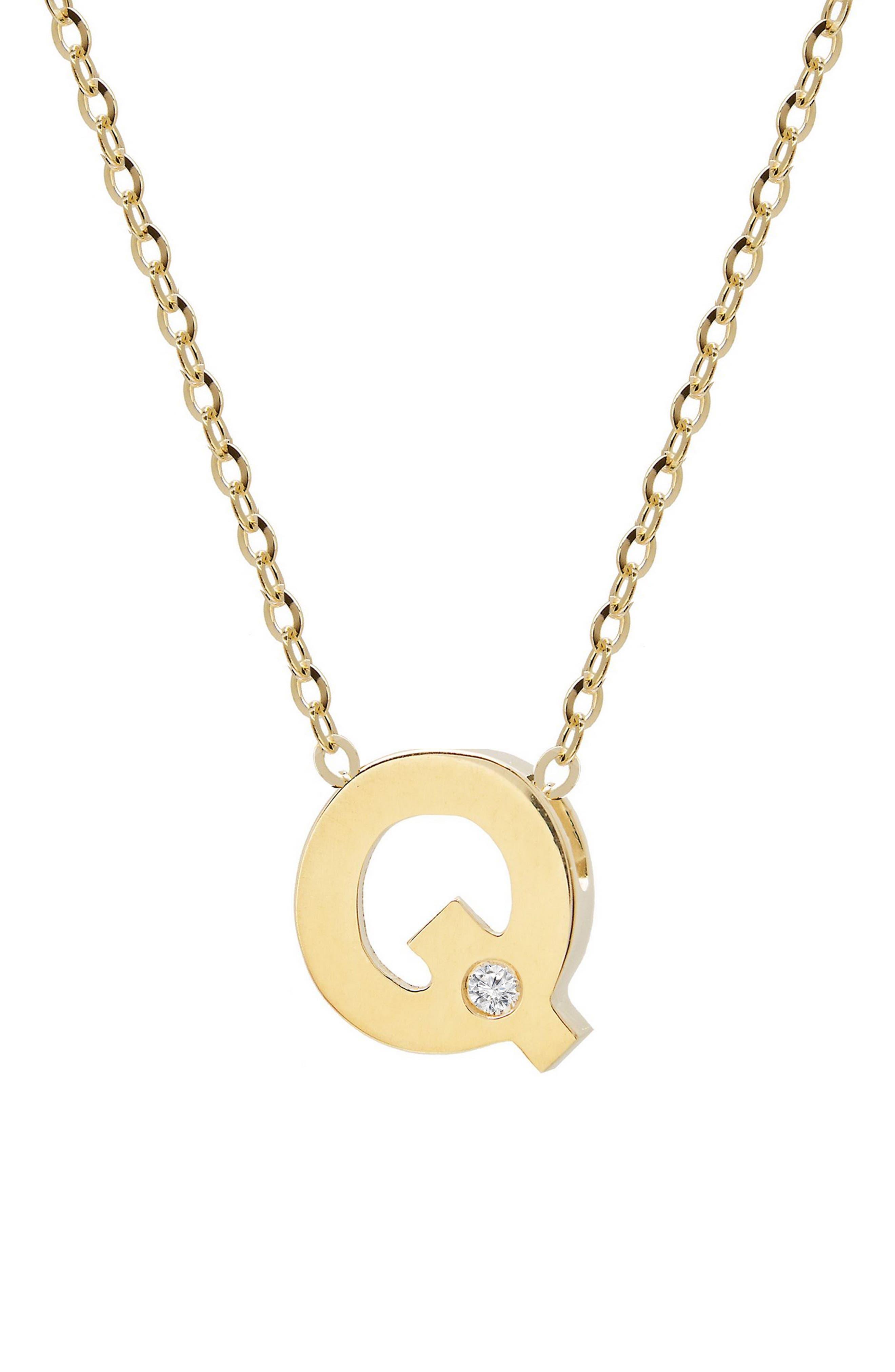 Diamond & Initial Pendant Necklace