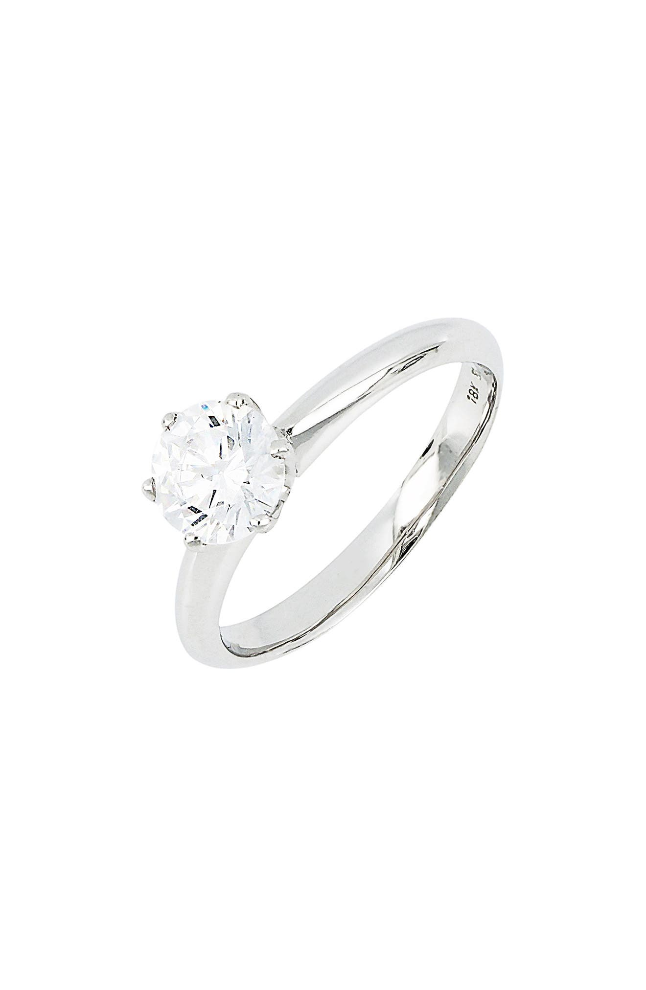 Halo Cubic Zirconia Six-Prong Solitaire Ring (Nordstrom Exclusive)