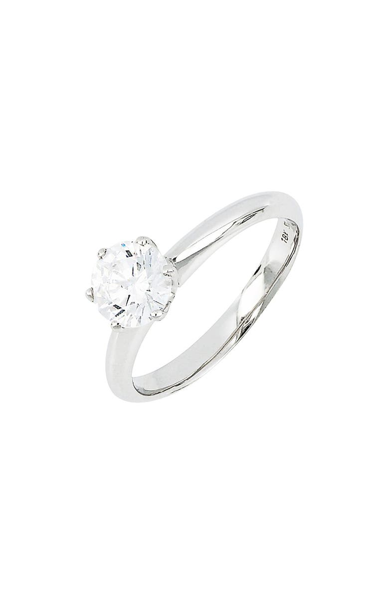 BONY LEVY Halo Cubic Zirconia Six-Prong Solitaire Ring, Main, color, WHITE GOLD