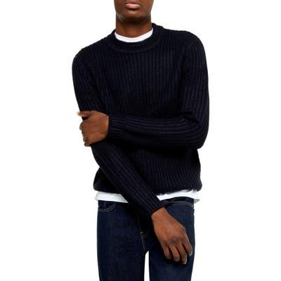 Topman Chunky Crewneck Sweater, Blue